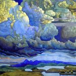 Nikolai Konstantinovich Roerich (1874-1947)  Battle in the Heavens  Tempera on cardboard, 1912  91 x 124.5 cm  State Russian Museum, St. Petersburg, Russia
